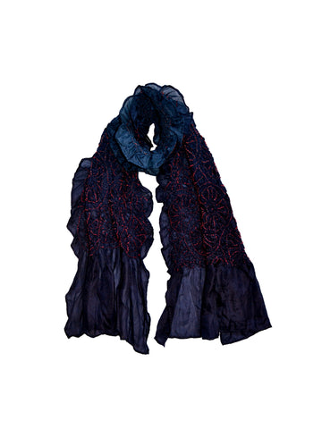 Poncanna: English Poppy Pattern Shibori Light Weight Silk Scarf