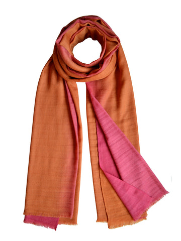 Oversize Cashmere Scarf : Ochre & Pink Ombre