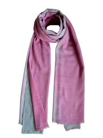 Oversize Cashmere Scarf : Grey & Pink Ombre