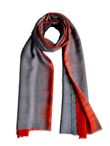 Cashmere Scarf : Grey & Scarlet Ombre