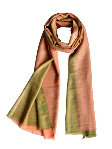 Cashmere Scarf : Pastel Green & Peach Ombre