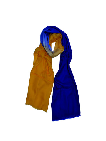 Cashmere Scarf : Blue & Yellow Ombre