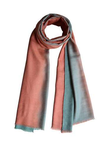 Cashmere Scarf : Pink & Sky Blue Ombre