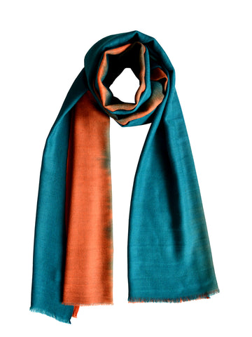 Cashmere Scarf : Teal & Rust Ombre