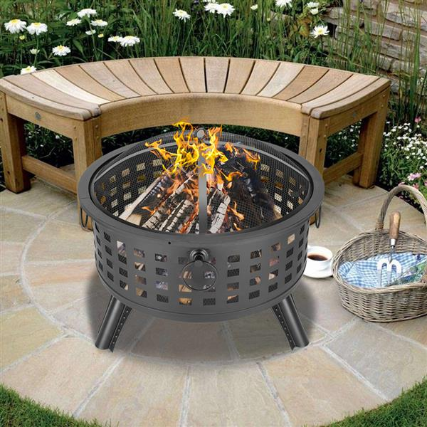 Outdoor Brazier Fireplace Fire Pit Burner - Round Lattice Fire Bowl