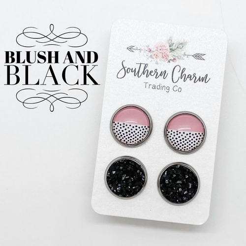 willow & wonder boutique blush and polka dot and black earring set. double set