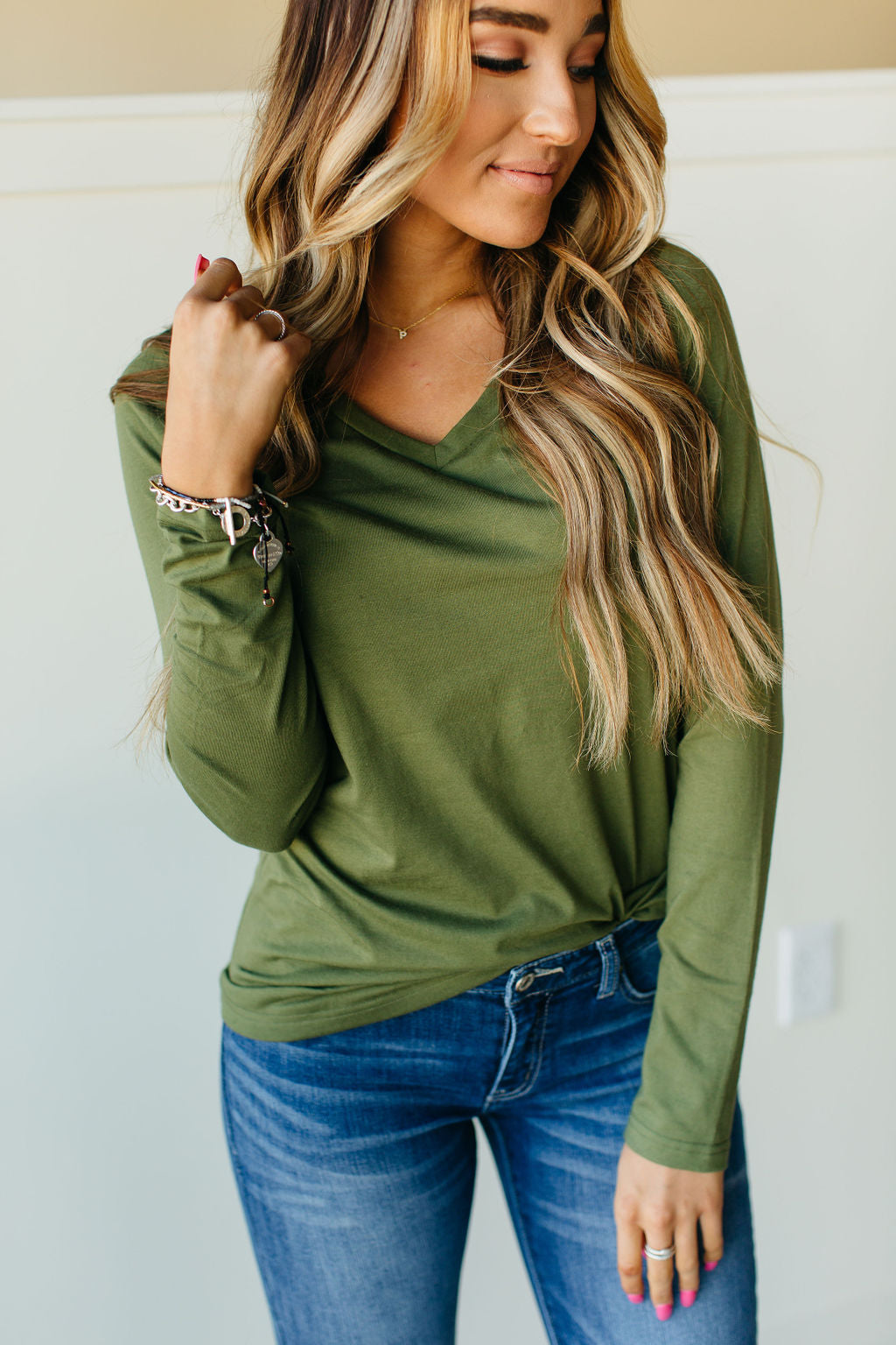 Ampersand Ave Olive LS Top