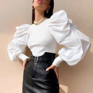 Elegant Knitted Ruched Blouse