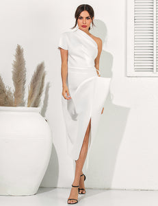 Elegant One Shoulder Slit Dress