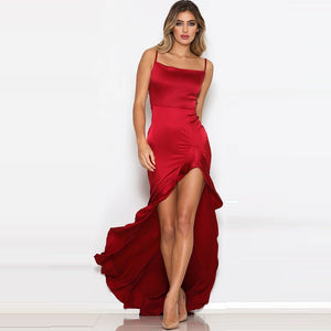 Irregular Hem Split Satin Dress