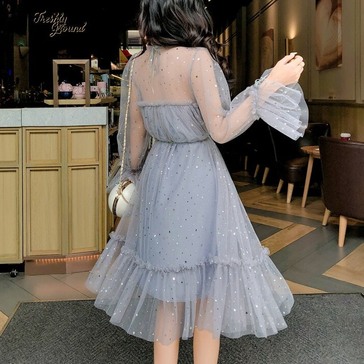 Gray Sequined Mesh Party Dress