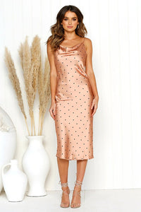 Polka Dot Satin Dress