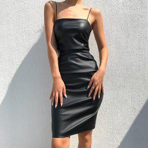 Elegant Black Leather Dress