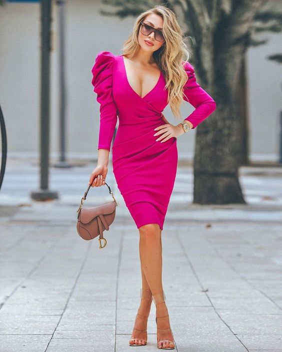 Pink Ruched Mini Dress