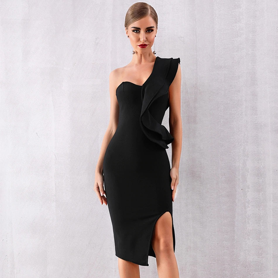 One-Shoulder Ruffled Bandage Dress