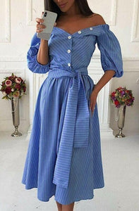 Blue Striped Wrap Midi Dress