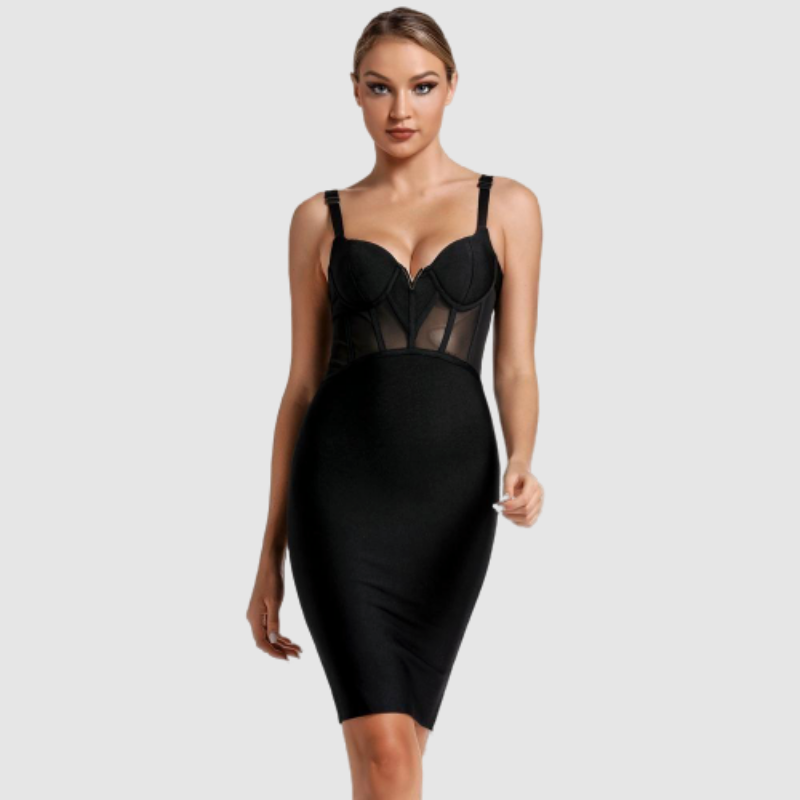 Elegant Black Mesh Bandage Dress