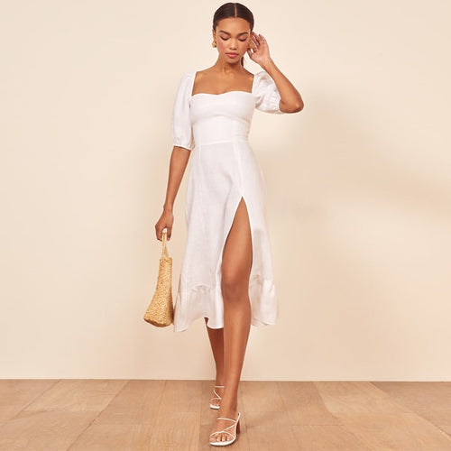 White Split Boho Dress