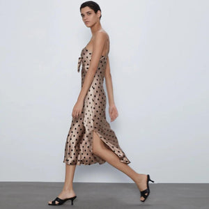 Polka Slit Midi Dress