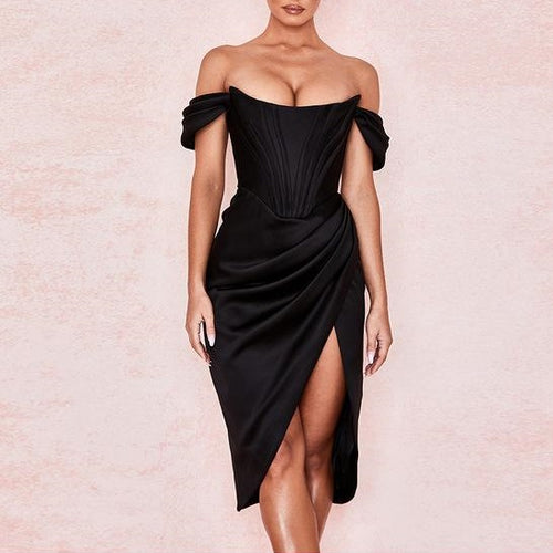 Elegant Off Shoulder Split Dress