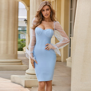 Blue Bandage Mesh Dress
