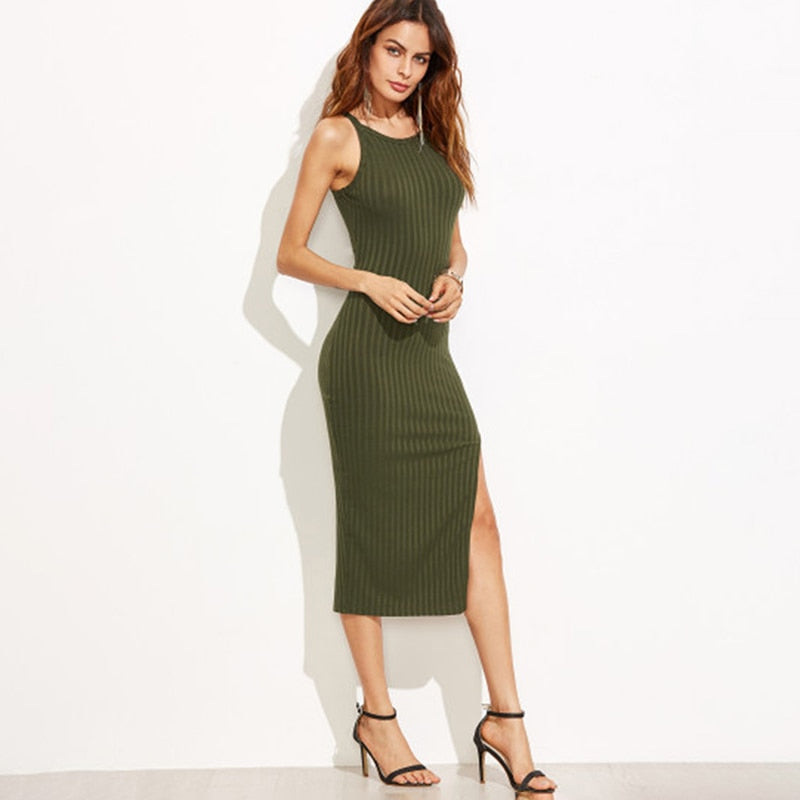 Elegant Slit Midi Dress