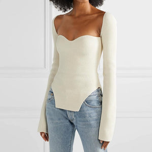 Elegant Asymmetrical Knitted Blouse