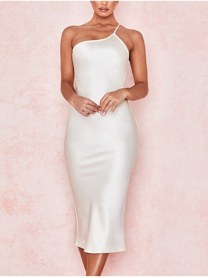 Elegant One Shoulder Satin Dress
