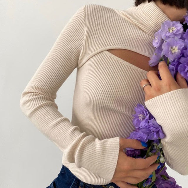 Elegant Knitted Hollow-Out Blouse