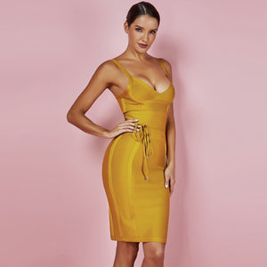 Yellow Bodycon Bandage Dress