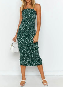 Shirred Bodycon Midi Dress