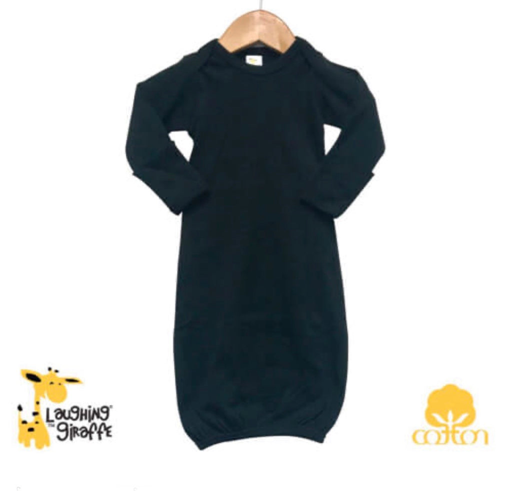 Black Baby Gown - 100% Cotton