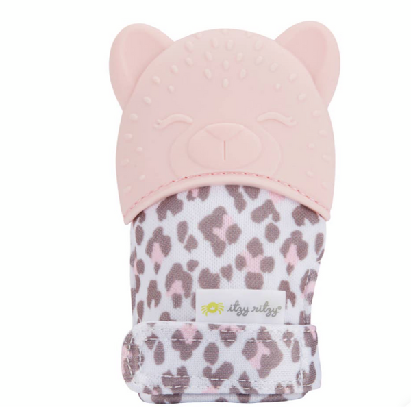 Teething Mitt, Light Pink and leopard