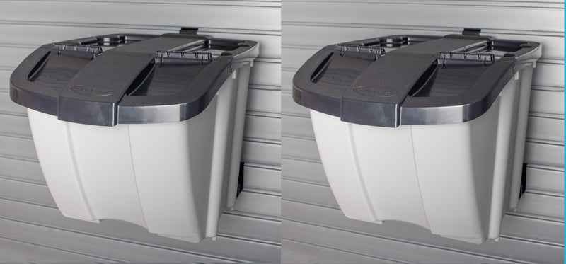 Slatwall Mount Dual Bin Recycling Center With Lids - Wall To Wall Storage