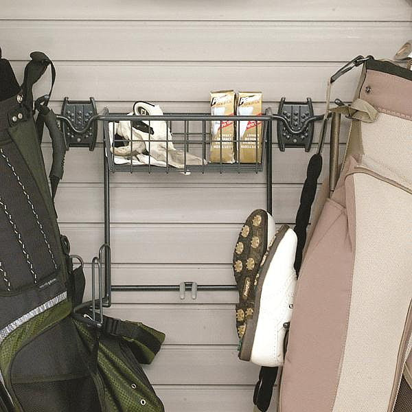 Organized Living - Schulte  7115-5010-50 Golf Bag Holder & Basket - Wall To Wall Storage