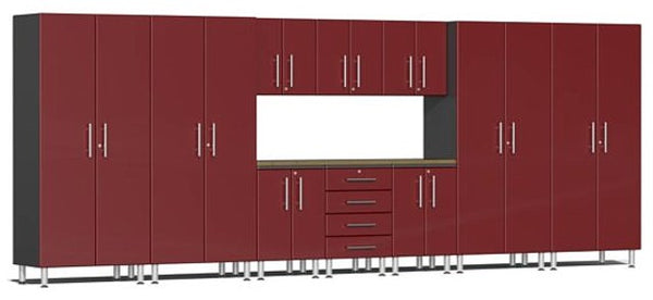 Ulti-MATE 2.0 Series UG22112R - Ruby Red  18' Wide 11-Piece Garage Cabinet Kit with Solid Bamboo Worktop