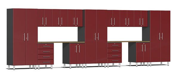 Ulti-MATE UG22152R 21' Wide  15-Piece Garage Cabinet Kit with Ruby Red Facings - Usually Ships in 7-21 Business Days