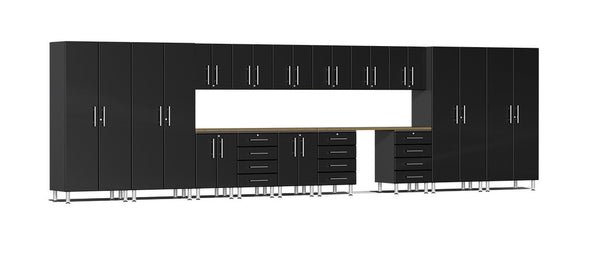 Ulti-MATE UG22172B - 24' Wide 17 Piece Cabinet System With Bamboo Worktop and Midnight Black Facings - Usually Ships in 7-21 Business Days
