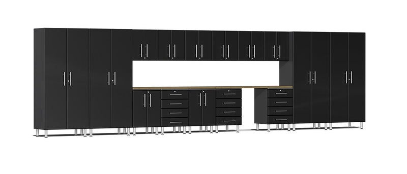 Ulti-MATE UG22172B - 24' Wide 17 Piece Cabinet System With Bamboo Worktop and Midnight Black Facings - Usually Ships: 1-10 Business Days