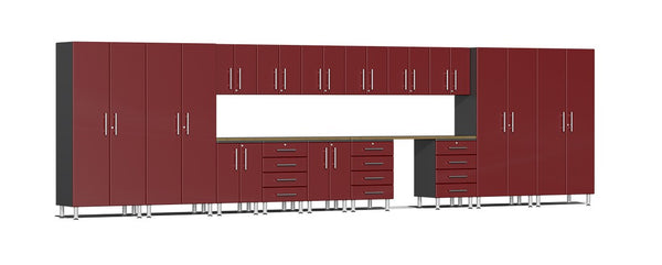 Ulti-MATE UG22172R - 24' Wide 17 Piece Cabinet System With Bamboo Worktop and Ruby Red Facings - Usually Ships in 7-21 Business Days