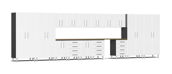 Ulti-MATE UG22172W - 24' Wide 17 Piece Cabinet System With Bamboo Worktop and Starfire White Facings - Usually Ships in 7-21 Business Days