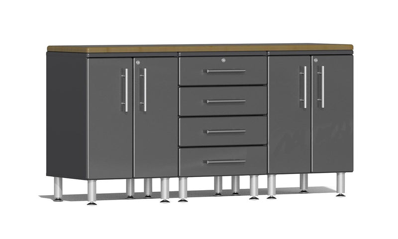 Ulti-MATE 2.0 Series UG23042* - 6' Wide  4-Piece Garage Cabinet Workstation Kit with Bamboo Worktop - Usually Ships in 7-21 Business Days