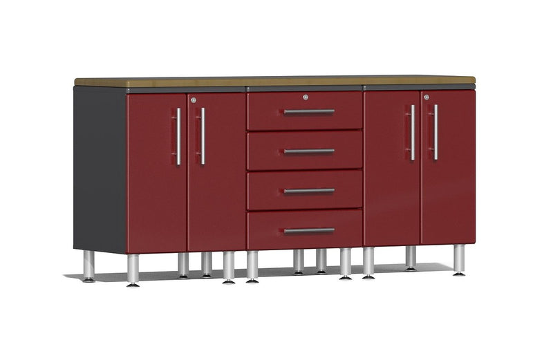 Ulti-MATE 2.0 Series UG23042* - 6' Wide  4-Piece Garage Cabinet Workstation Kit with Bamboo Worktop - Usually Ships: 1-10 Business Days