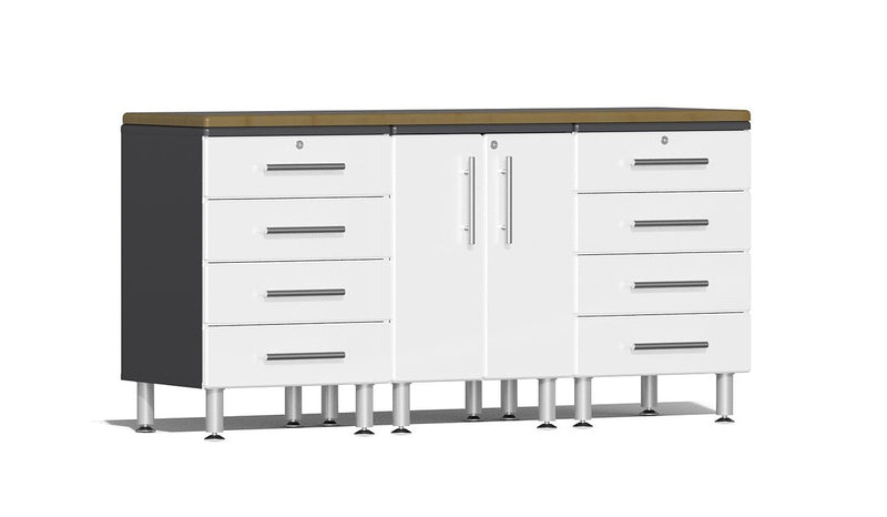 Ulti-MATE 2.0 Series UG24042* - 6' Wide  4-Piece Garage Cabinet Workstation Kit with Bamboo Worktop - Usually Ships in 7-21 Business Days