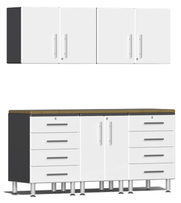 Ulti-MATE 2.0 Series UG29062X - 6' Wide  6-Piece Garage Cabinet Kit with Bamboo Worktop - Usually Ships in 7-20 Business Days