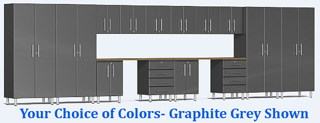 Ulti-MATE 2.0 Series UG22162* - 24' Wide 16-Piece Garage Cabinet Kit with Dual Workstation - Wall To Wall Storage