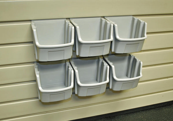 "Slatwall Mount Open Storage Bins - 5"""" W X 5 3/8"""" D - Pack of Six - Wall To Wall Storage"