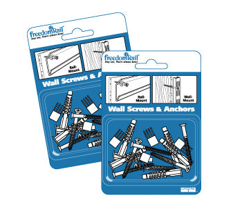 (12) FreedomRAIL Retail pack (6) Screws/Anchor pkg. - (72 Total of each) - Wall To Wall Storage