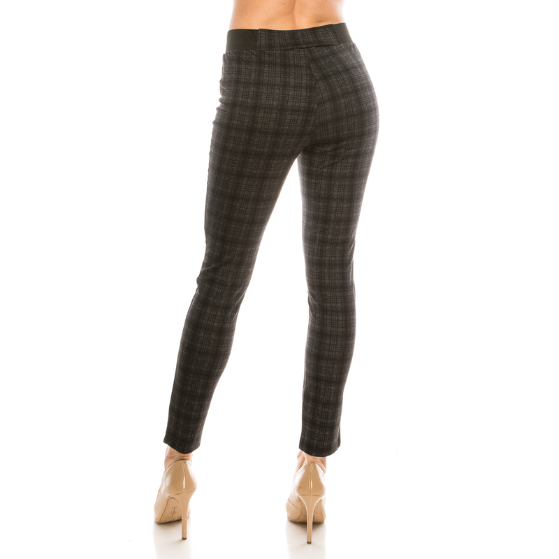 Urban Diction Black Tonal Plaid Ponte Stretch Trousers - FashionKila.com