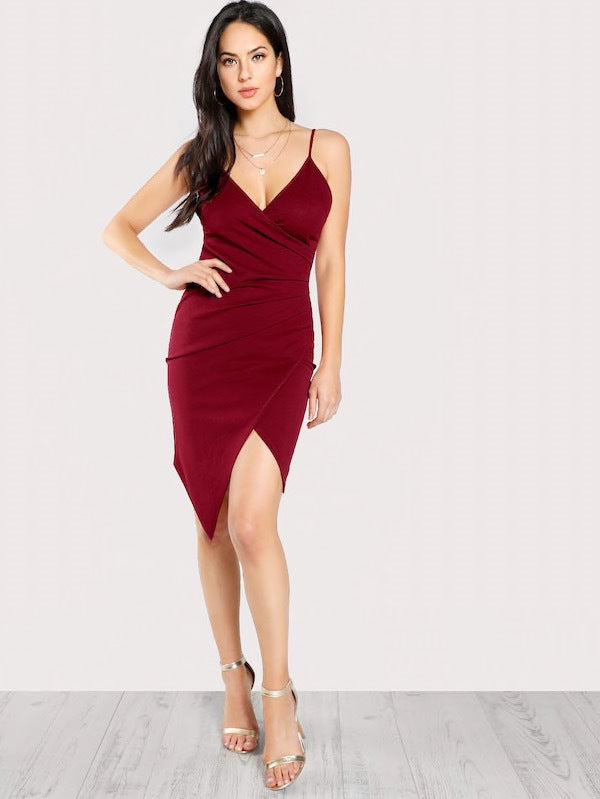 Ruched overlap Cami dress - FashionKila.com